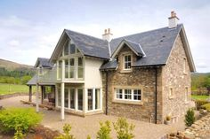 Croftgarrow, Fortingall, Aberfeldy, Scotland - Before After DIY Bungalow Exterior, Dream House Exterior, Home Design, Rendered Houses, House Designs Ireland, Dormer Bungalow, Cottage Extension, Oak Frame House, Small Cottages