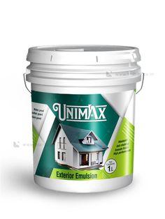Unimax exterior emulsion design by Brandz UAE Packaging Design Inspiration, Design Packaging, Branding Design, Logo Design, Paint Buckets, Label Design, Package Design, Painted Boxes, Iron Decor