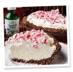 No Bake Sugar-Free Low Carb Peppermint Cheesecake Pie Sugar Free Candy, Sugar Free Desserts, Desserts To Make, Low Carb Sweets, Low Carb Desserts, Low Carb Recipes, Healthy Desserts, Stevia Desserts, Mint Desserts