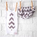 Silver Chevron Bloomers/ Singlet set - boy, baby, grey, tank, christmas, outfit