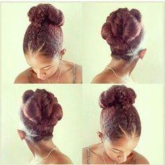 Creative bun on natutal hair