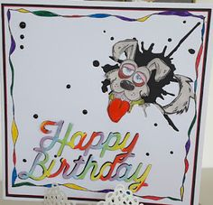 Focus on Papercraft: Bright card combining the Crazy Dog and Mixed Medi...