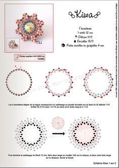 KIWA Ring - FREE Pattern. Use: 1 rivoli 12mm, Délica seed beads 11/0, seed beads 15/0, peanut/farfalle beads 4mm. Page 1 of 2