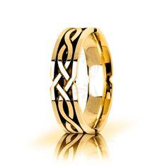 10k Yellow Gold Celtic Knot Wedding Band Polish 6mm 01825