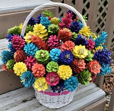 One Dozen Beautiful bright painted pinecone flowers Summer Crafts, Fall Crafts, Holiday Crafts, Crafts To Make, Diy Crafts, Pine Cone Art, Pine Cone Crafts, Pine Cones, Pine Cone Flower Wreath