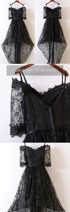 Only $99, Prom Dresses Unique Black High Low Prom Dress Lace With Off Shoulder For Teens #MYX18089 at #GemGrace. View more special Prom Dresses,Homecoming Dresses now? GemGrace is a solution for those who want to buy delicate gowns with affordable prices. Free shipping, 2018 new arrivals, shop now to get $10 off!