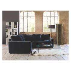 RUPERT Dark grey velvet 2 seater sofa bed | Habitat