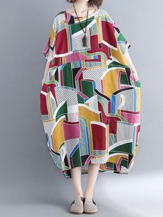 Loose fit dress pocket maxi tunic short sleeve large size Bohemian Boho abstract #Unbranded #dress #Casual