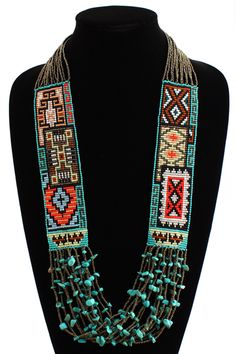 Six Navajo Rug Story Necklace - #201 Bronze, Magnetic Clasp!