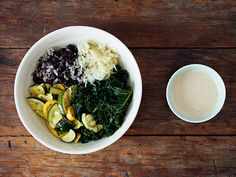 baked squash   kale bowl with miso tahini sauce