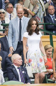 Prince William and Kate are coming to the royal box at Wimbledon to look at Roger Federer's tennis match, July 16, 2017.