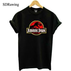 d8ed6f3998e68 New JURASSIC PARK print cotton T shirt for Women Tops Casual Brand Graphic  Tees Hipster Shirt Femme Womens Clothing plus size
