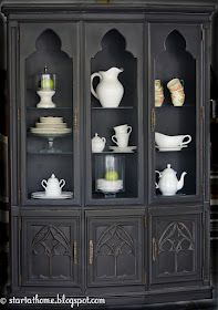 AFTER: Beautiful gothic details on this at Start at Home: My First Custom Hutch