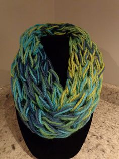 Arm Knitted Infinity Scarf by IdleHandsCrochetKnit on Etsy
