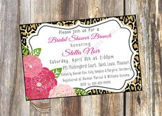 Cheetah and Floral Digital or Printed Wedding by RoostPaperie, $13.00