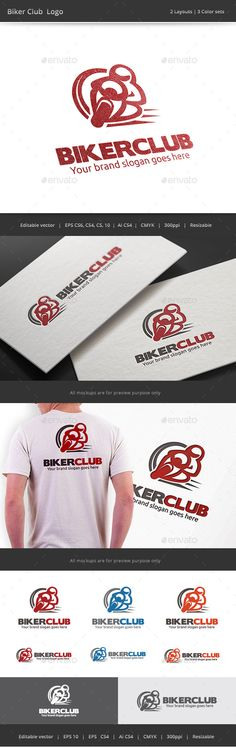Biker Club Logo — Vector EPS #track #racing • Available here → https://graphicriver.net/item/biker-club-logo/9093242?ref=pxcr