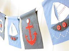 Sweet appliqued nautical bunting x