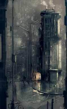 Pascal Campion, Later that evening. Cool Backgrounds Wallpapers, Scenery Wallpaper, Pascal Campion, Smell Of Rain, City Drawing, Urban Sketching, Anime Scenery, City Art, Pretty Art