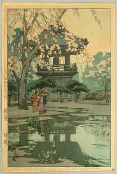 In a Temple Yard with cherry blossom
