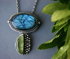 Rise of the Half Dark Moon - Labradorite and Prehnite Sterling Silver Necklace by MercuryOrchid