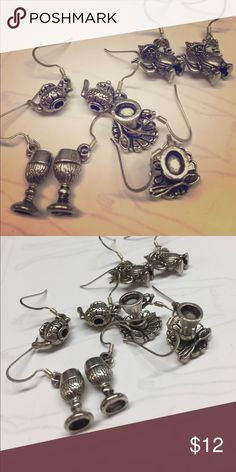 Bundle of tea pots and cup saucer pierced earrings Bundle of four silver Tone metal dangle earrings. Cup , cup and sauced, teapot and coffee cup Jewelry Earrings