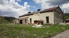 Abandoned mining support buildings in Crowsnest Pass Alberta