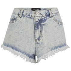 The Fifth Women's Midnight Mood Denim Shorts - Washed Denim ($60) ❤ liked on Polyvore featuring shorts, bottoms, blue, frayed jean shorts, cut off denim shorts, cut-off, blue jean shorts and jean shorts
