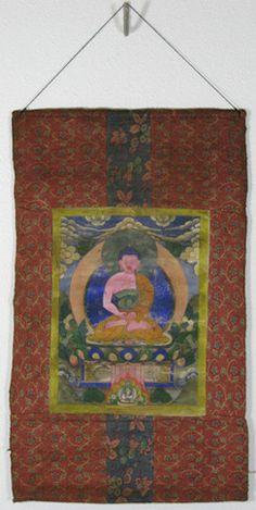 old thangka medicine buddha 80 90 years painting 27 x 36 cm brocade