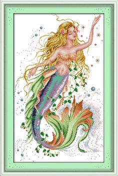 Compare Prices on Mermaid Print Fabric- Online Shopping/Buy Low . Magical Creatures, Fantasy Creatures, Mermaid Cross Stitch, Merfolk, Fabric Online, Sirens, Cross Stitch Embroidery, Printing On Fabric, Mermaids