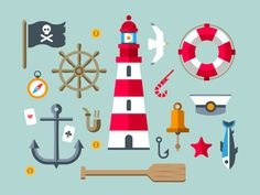 Sailor set designed by Beresnev. Connect with them on Dribbble; the global community for designers and creative professionals. Doodle Icon, Doodle Art, Sea Illustration, Illustrations, Popeye The Sailor Man, Polymer Clay Figures, Retro Wallpaper, All Icon, Graphic Design Typography