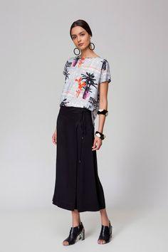 Jardin | T-shirt de seda estampada