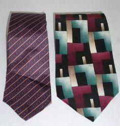 "CHRISTIAN DIOR PIERRE CARDIN All Silk Neck Tie Polka Dot Geometric Lot 56-56.5"" #ChristianDiorPierreCardin #Tie"