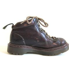 vintage brown leather heavy duty chunky Air Wair Doc Martens ankle boots // size…