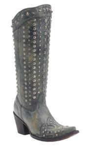 Corral® Women's Black Crater with Wingtip & Silver Studs Snip Toe Western Boots | Cavender's