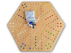 Hand-Painted Wooden Aggravation Game Board, Double-Sided