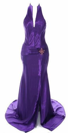 Purple Collar Halter Dress Satin Formal Open Slit Sexy Full Length Gown $117.99
