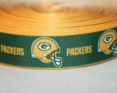 """Packers 1/"""" wide grosgrain ribbon the listing is for 5 yards"""