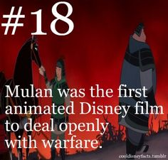 Cool Disney Facts: Mulan was the first animated Disney film to deal openly with warfare Disney Pixar, Disney Nerd, Disney Memes, Disney Quotes, Disney And Dreamworks, Disney Love, Disney Magic, Walt Disney World, Disney Trivia