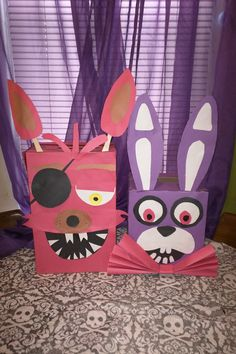 Foxy and Bonnie from FNAF (Five Nights at Freddy's) Valentine's Boxes.