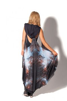 Galaxy Black Hooded Cape design from blackmilkclothing