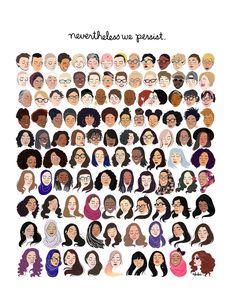 Nevertheless We Persist Print – Hand-Illustrated – girl power Instagram Selfies, Buch Design, Intersectional Feminism, Feminist Art, Hand Illustration, Women Empowerment, Empowerment Quotes, Girl Power, Lady Power
