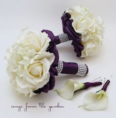 I like this for the bridesmaids bouquets, only no extra ribbon under the flowers. Definitely a fabric that matches the plum/eggplant dresses they'll wear.