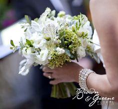 unique white and green wedding bouquet | floral design: Brown & Greene