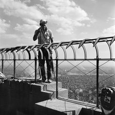 Vivian Maier :: A man precariously perched on the Observation Deck of the Empire State Building, NYC, 1954. Gelatin silver print; printed later. src: Howard Greenberg more [+] by this photographer
