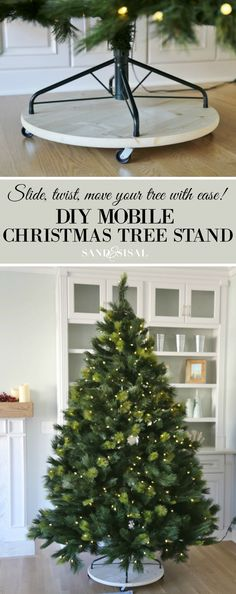 DIY Mobile Christmas Tree Stand. Slide, twist, or move your tree with ease with this simple and inexpensive project.