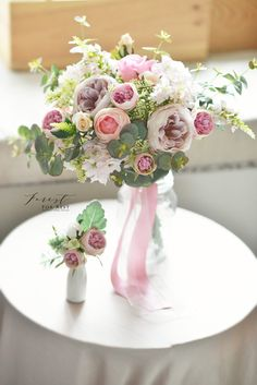 Garden rose silk flower bouquet  Pink bouquet  Facebook: Forest for Rest Silk Flower Bouquets, Pink Bouquet, Silk Flowers, Table Decorations, Bride, Crafts, Wedding, Rest, Design