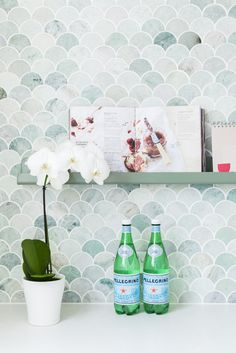 Mermaid Tiles. Project by H&G Designs. Tumble Green Marble Mermaid Tiles. Picture Ledge Recipe Holder by H&G Designs. Scallop Tiles Splashback. Tumbled Stone Tiles. Moroccan Fish Scale Tiles
