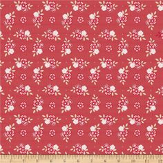 Riley Blake Raspberry Parlour Floral Red from @fabricdotcom  Designed by Sue Daley Designs for Riley Blake, this cotton print is perfect for quilting, apparel and home decor accents.  Colors include cream, red, white and pink.