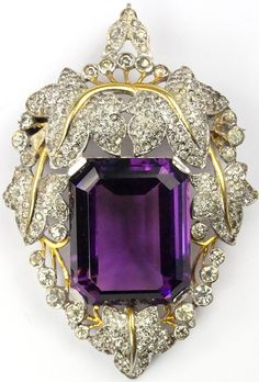 Trifari 'Alfred Philippe' Gold and Pave Leaves and Table Cut Amethyst Pin or Pendant
