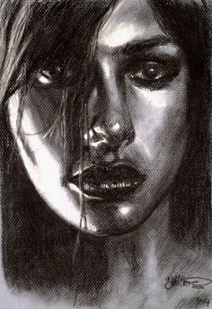It's hard to tell from the image but this was black and white pastel pencil on blue canson paper.